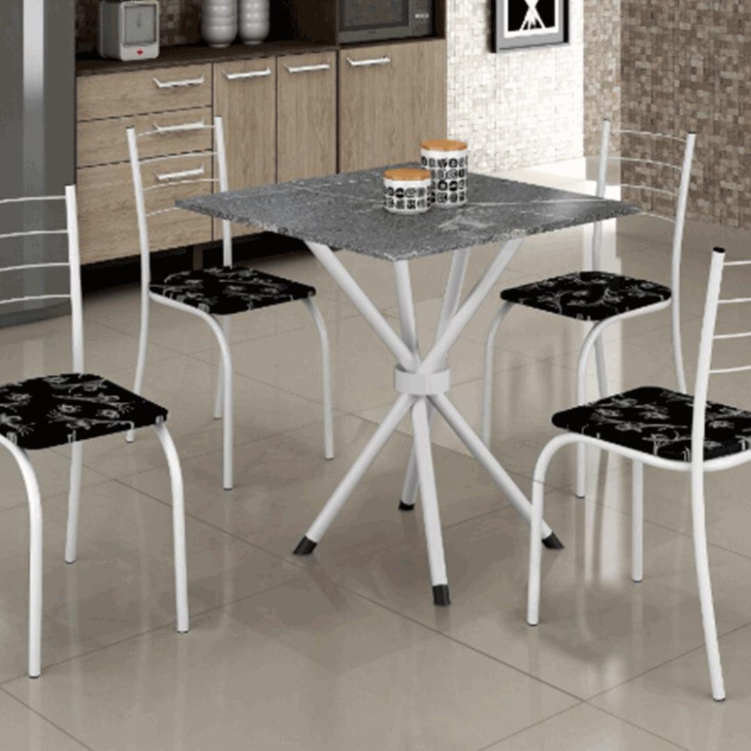 Conjunto de Mesa Teixeira Rio Tampo de Granito 4 Cadeiras