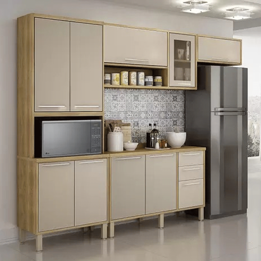 Armário de Cozinha Completa Salleto Paris 10 Portas 3 Gavetas