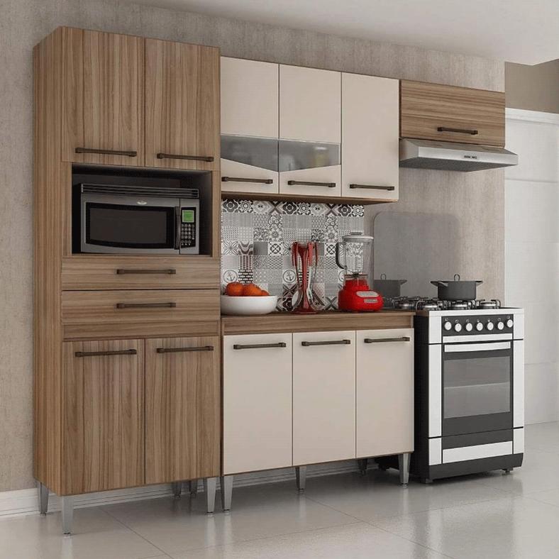 Armário de Cozinha Completa CHF Lívia 11 Portas 2 Gavetas