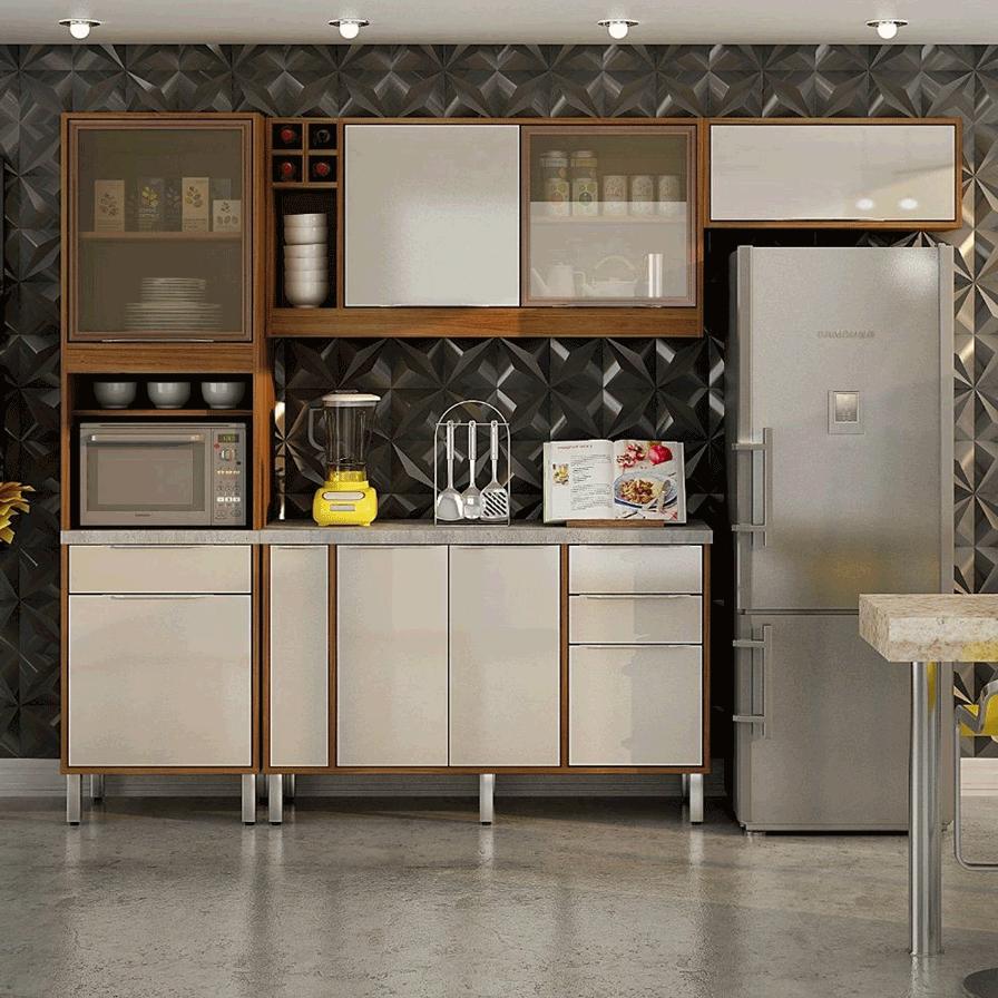 Armário De Cozinha Completa CHF Aghata 8 portas 4 Gavetas