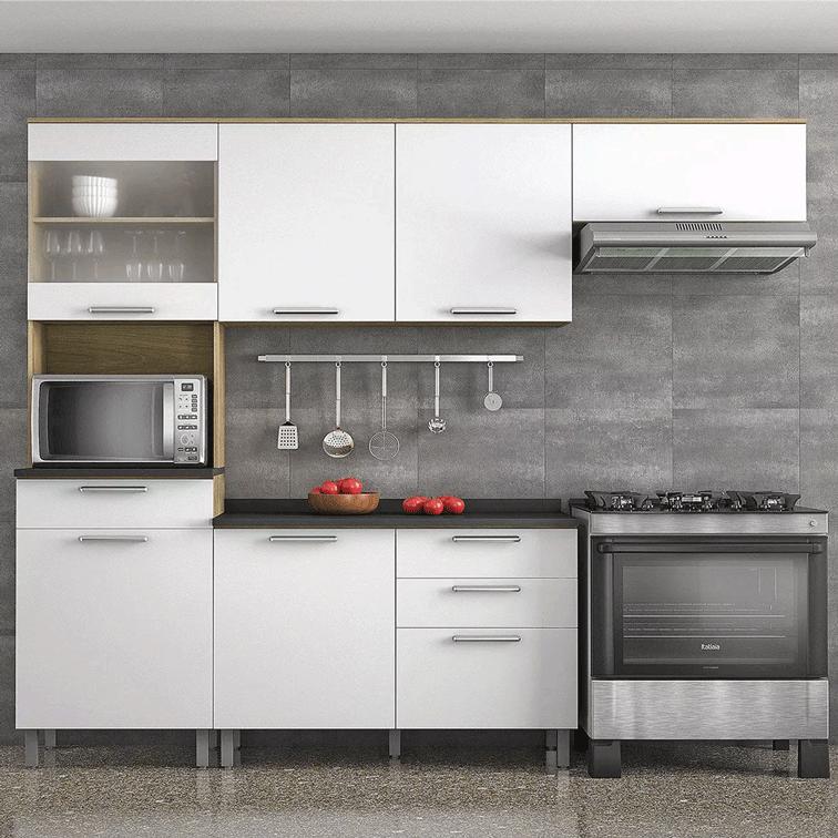 Armário de Cozinha Completa Itatiaia Clean 6 Portas 4 Gavetas