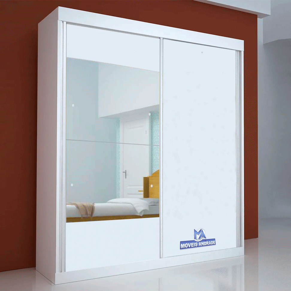 Guarda Roupa Portas de Correr Com Espelho Bom Pastor Mix Flex  2 Portas 3 Gavetas