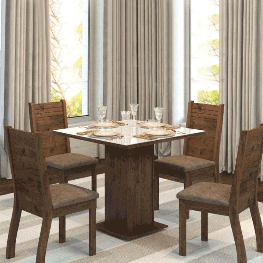 Mesa de Jantar Viero Lily com 4 cadeiras Imbuia OFF