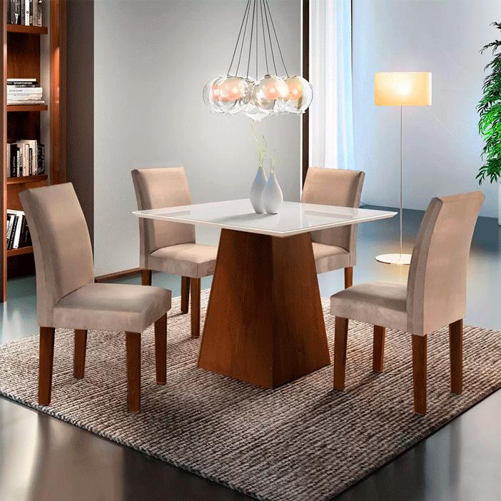 Sala de Jantar Cel Móveis Sevilha 4 Cadeiras