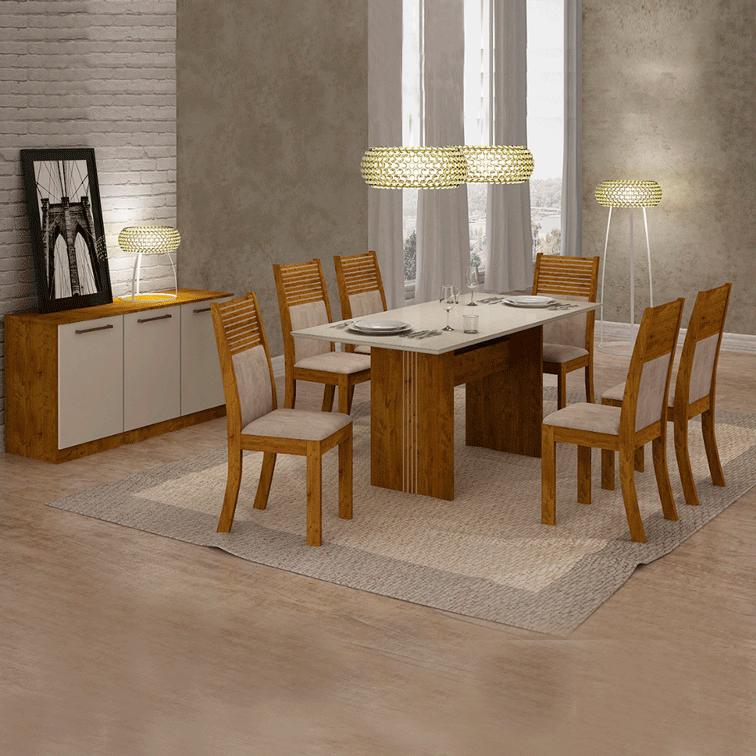 Sala De Jantar Completa Leifer Pietra 6 Cadeiras com Buffet
