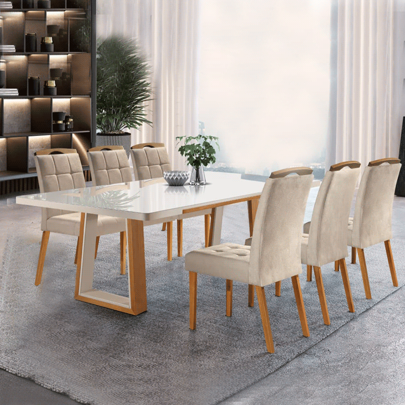 Sala de Jantar Ello Venezia 6 Cadeiras