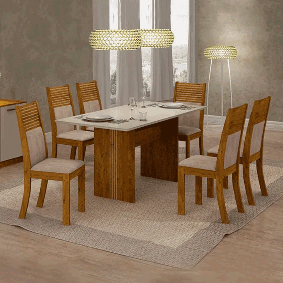 Sala De Jantar Leifer Pietra 6 Cadeiras