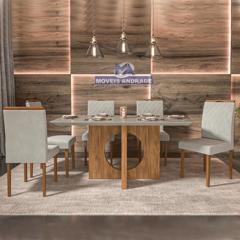 Sala de Jantar Madenova Ravena 6 cadeiras