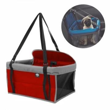 Assento Para Carro Para Cães e Gatos - 42X25X31 - Vermelho/Cinza