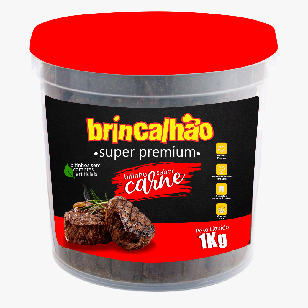Bifinho Super Premium Brincalhão - Sabores: Carne, Frango, Bacon e Leite e Carne - 1kg