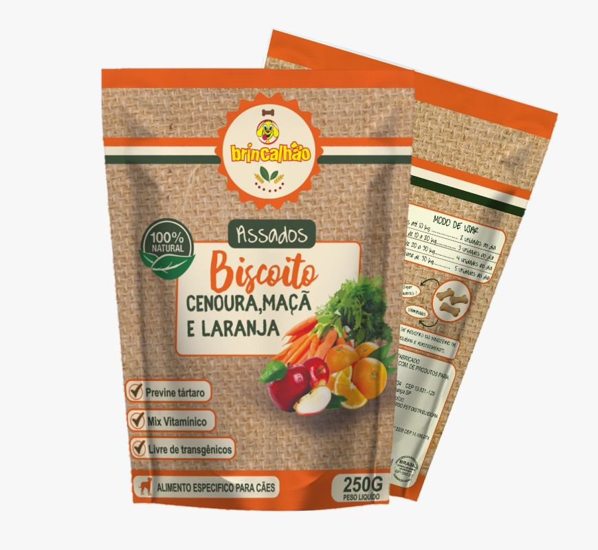 Biscoito Brincalhão cenoura, maçã e laranja - 250g