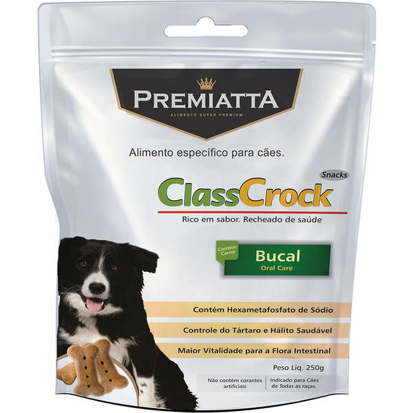 Biscoito Premiatta ClassCrock Snacks Bucal para Cães 250g