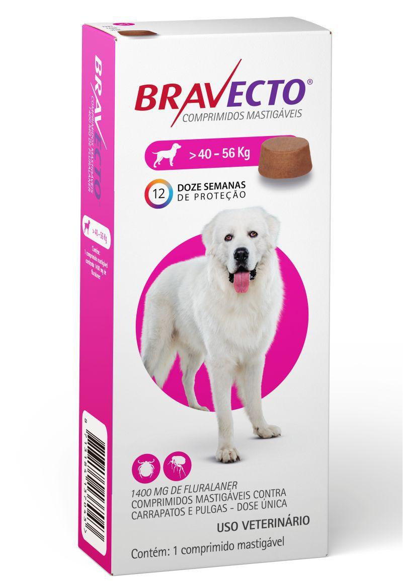 Bravecto Antipulgas e Carrapatos para Cães de 40Kg a 56Kg - 1400mg - MSD