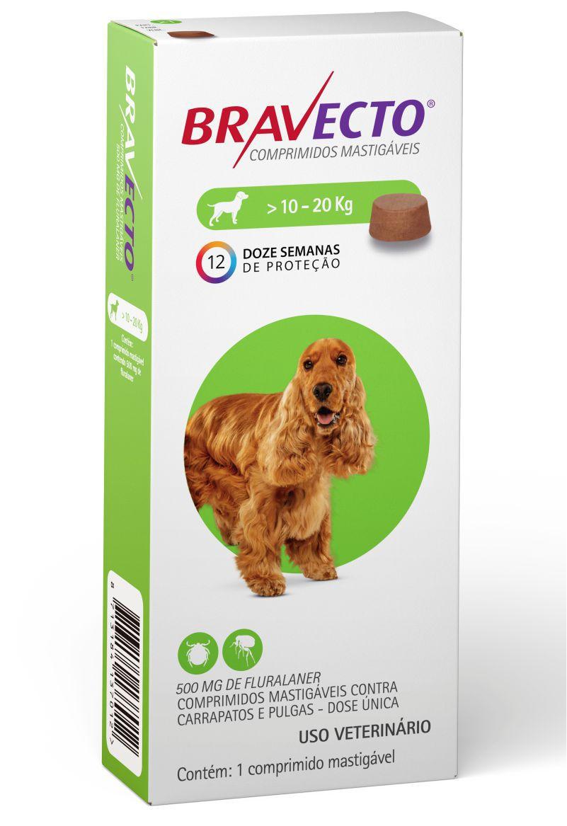 Bravecto Antipulgas e Carrapatos para Cães de 10Kg a 20Kg - 500mg - MSD