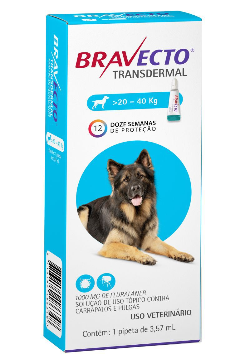 Bravecto Transdermal cães 1000mg 20 a 40 kgs - MSD