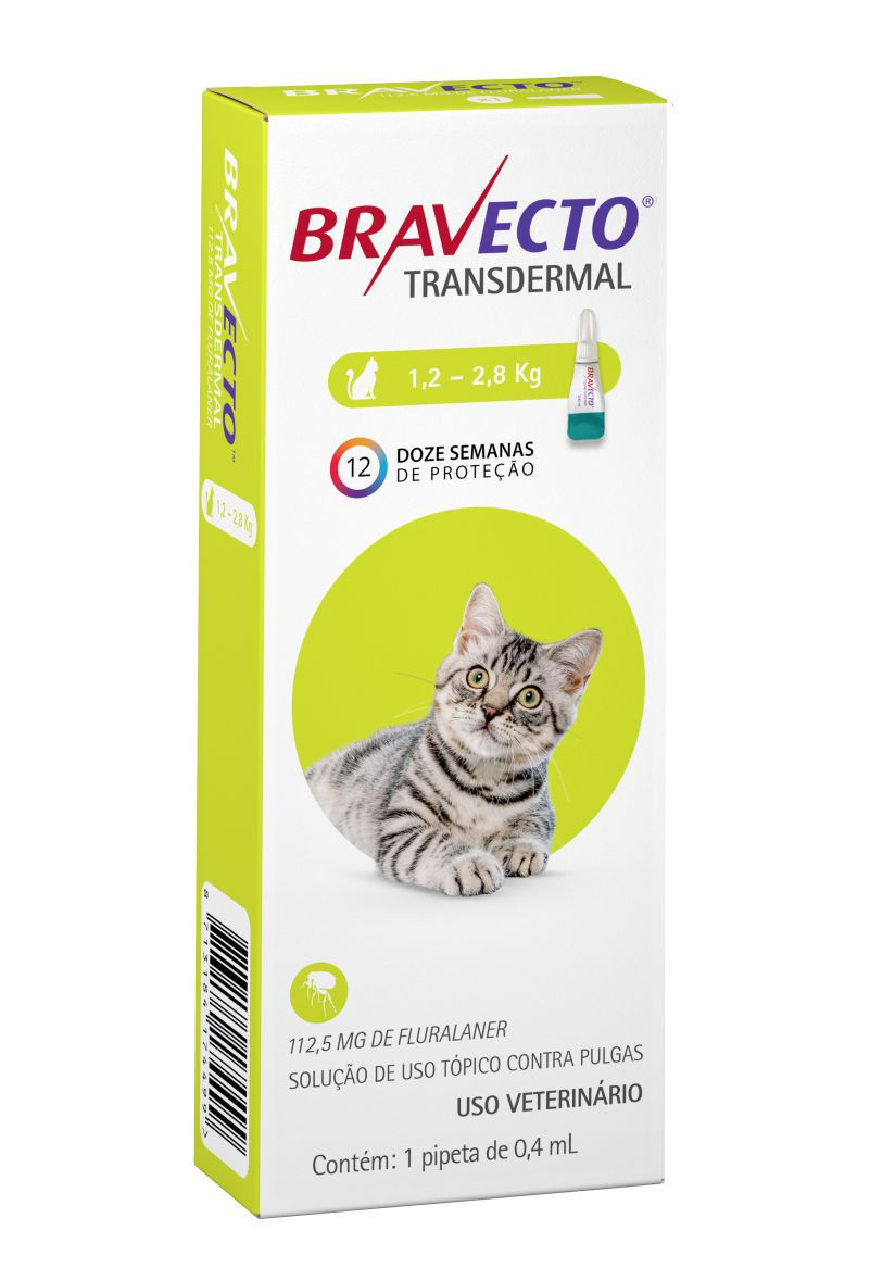 Bravecto Transdermal gatos 112mg 1,2 a 2,8 kgs- MSD