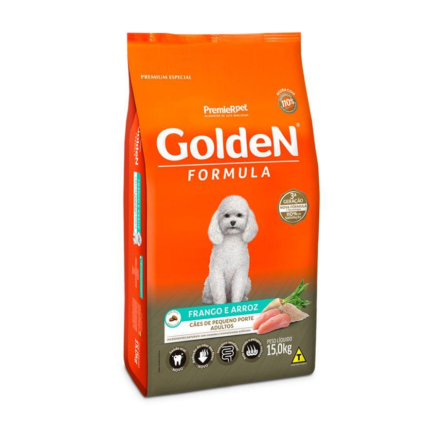 Ração Golden Fórmula Mini Bits para Cães Adultos de Pequeno Porte Sabor Frango 15kgs