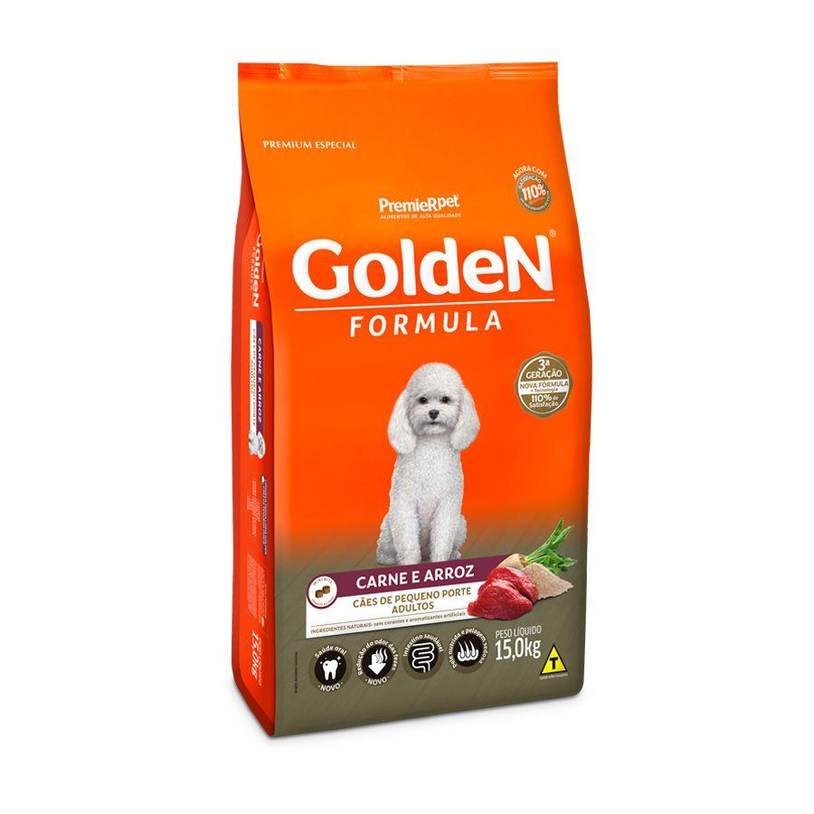 Ração Golden Fórmula Mini Bits Para Cães Adultos Pequeno Porte Sabor Carne e Arr