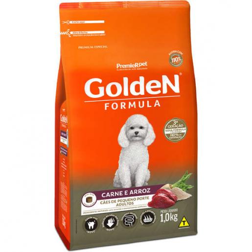 Ração Golden Fórmula Mini Bits Para Cães Adultos Pequeno Porte Sabor Carne e Arroz 1 kg