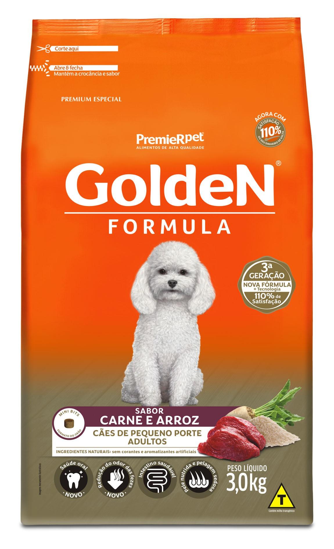 Ração Golden Fórmula Mini Bits Para Cães Adultos Pequeno Porte Sabor Carne e Arroz 3 kg