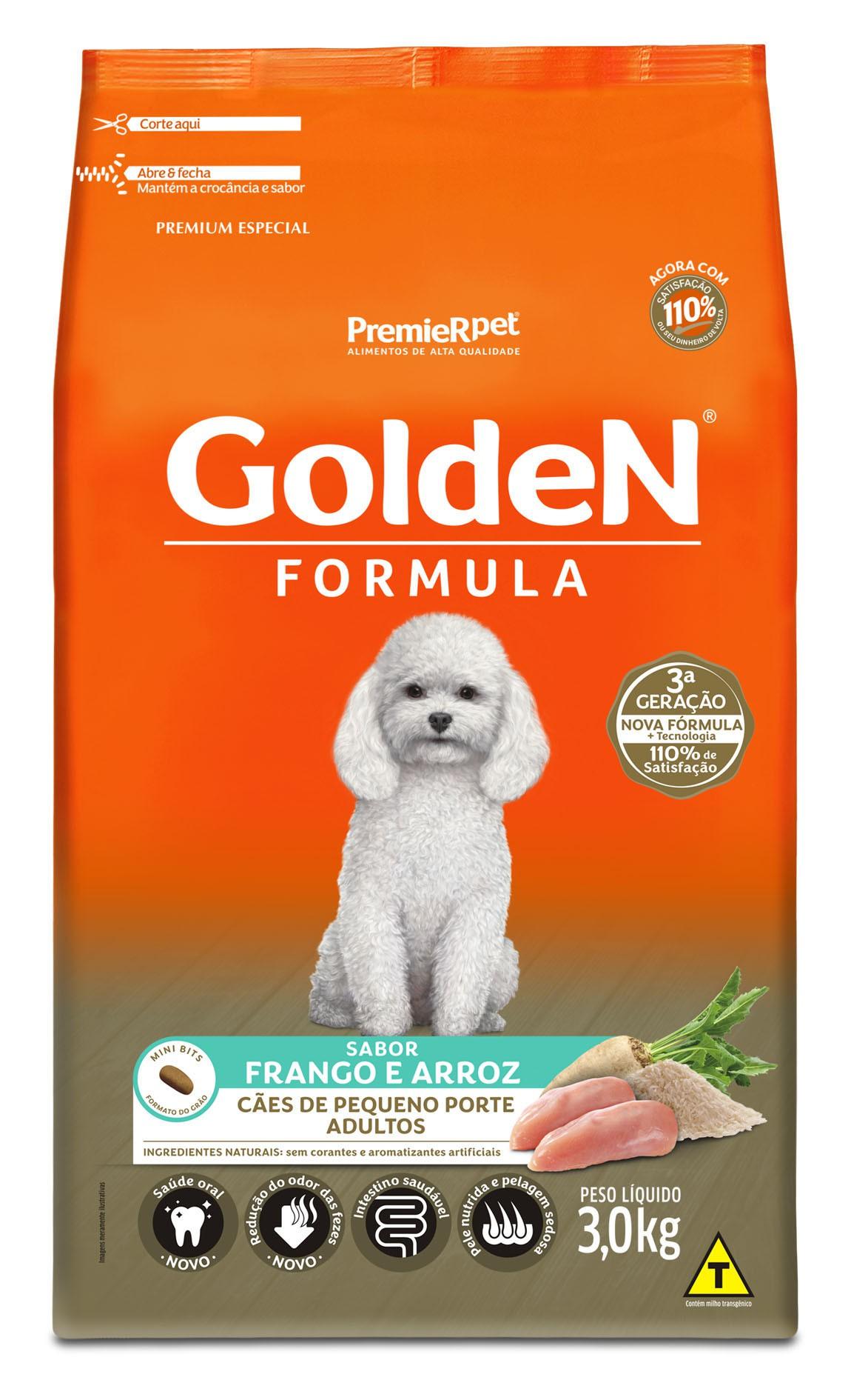 Ração Golden Fórmula Mini Bits Para Cães Adultos Pequeno Porte Sabor Frango e Arroz 3 kg