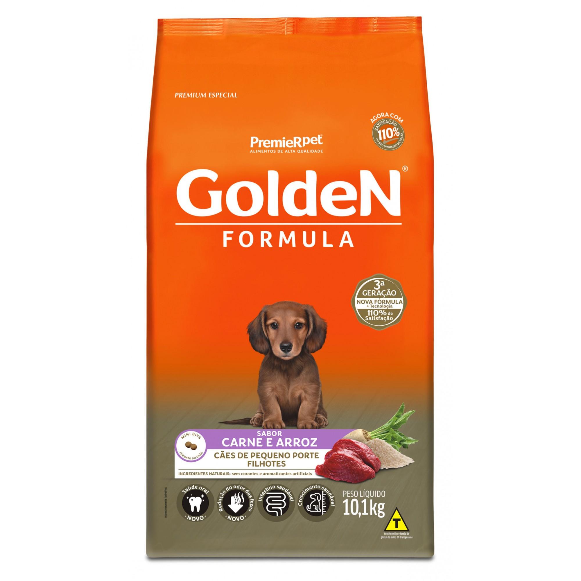 Ração Golden Fórmula Mini Bits Para Cães Filhotes Raças Pequenas Sabor Carne e Arroz 10,1 kg
