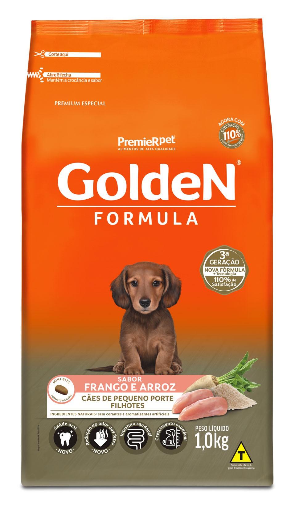 Ração Golden Fórmula Mini Bits Para Cães Filhotes Raças Pequenas Sabor Frango e Arroz 1 kg