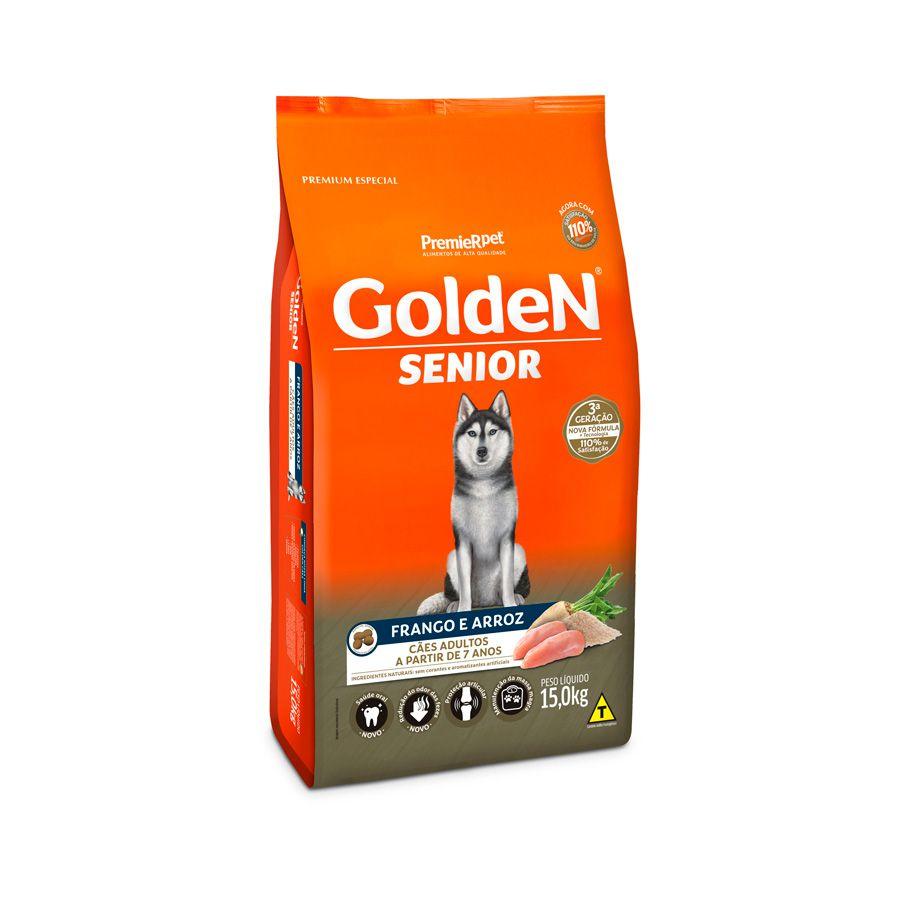 Ração Golden Fórmula Senior para Cães Adultos Sabor Frango e Arroz - 15kgs