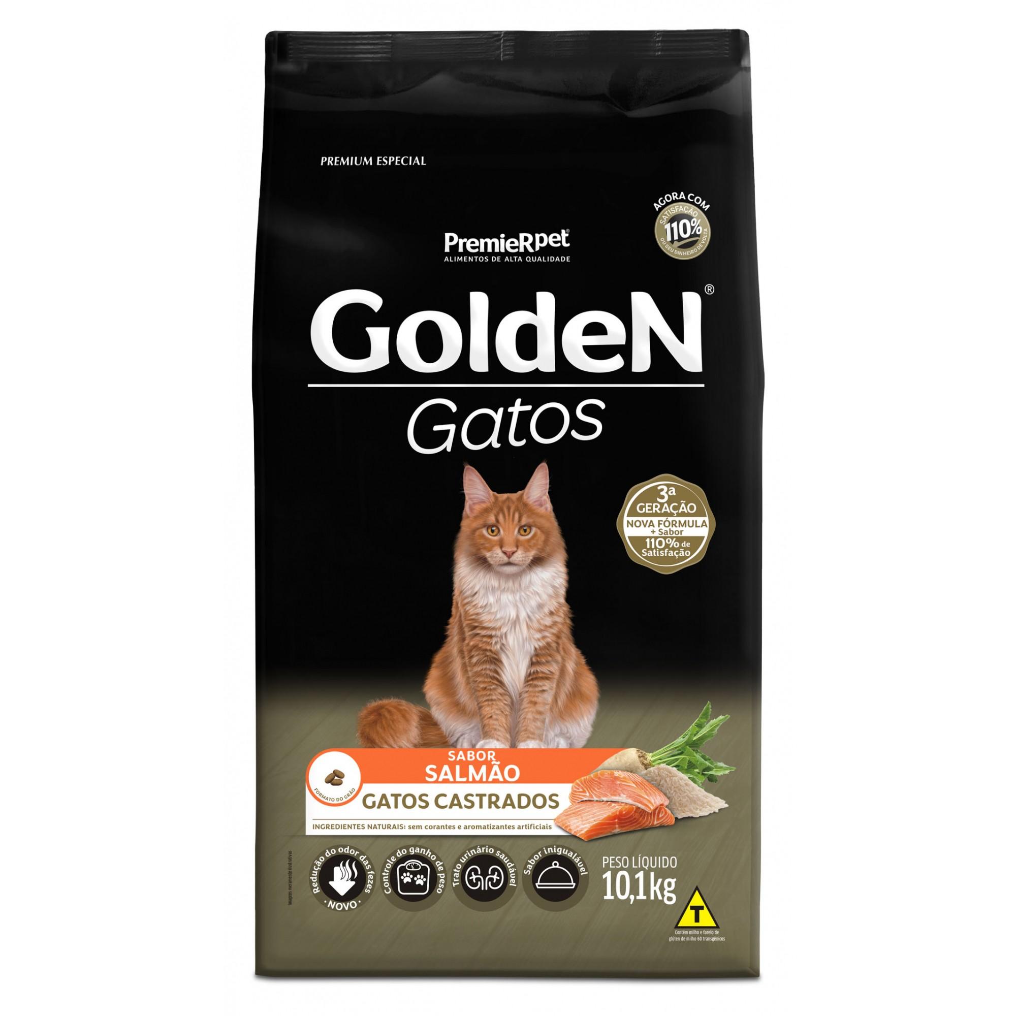 Ração Golden para Gatos Adultos Castrados Sabor Salmão 10,1 kg