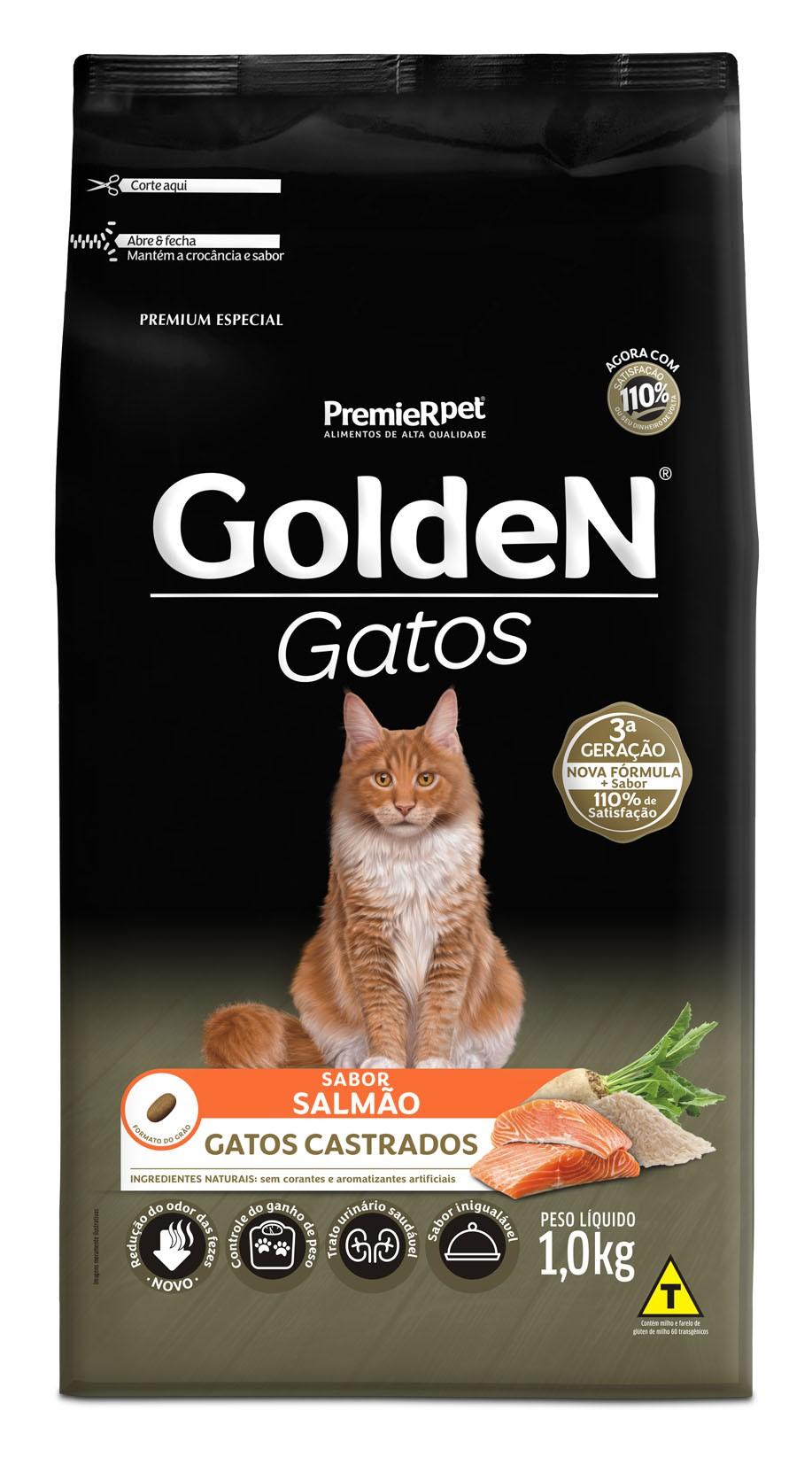 Ração Golden para Gatos Adultos Castrados Sabor Salmão 1 kg