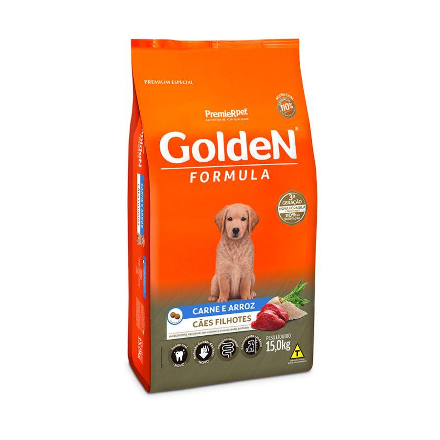 Ração Golden Premier Filhote para Cães Sabor Carne e Arroz 15 kg