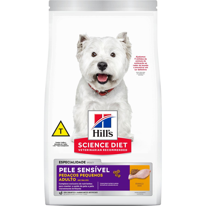 Ração Hill's Science Diet Cães Adultos Pele Sensível Pedaços Pequenos 2,4kg