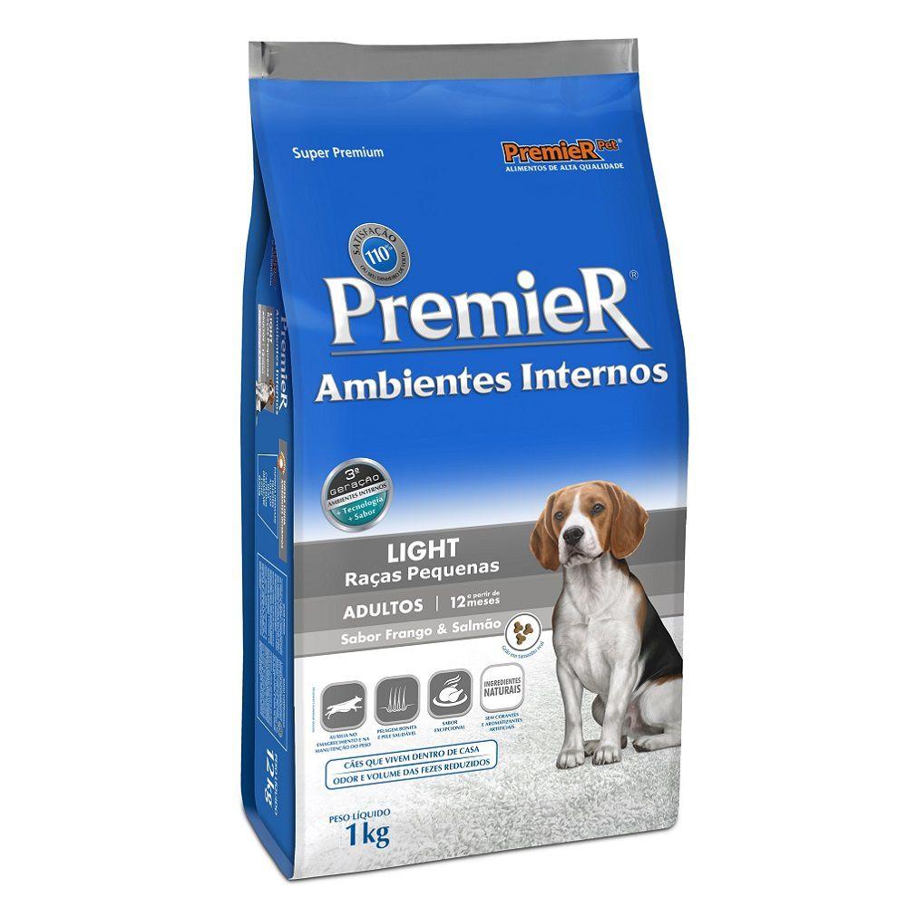 Ração Premier Ambientes Internos Light para Cães Adultos Sabor Frango e Salmão- 1 kg