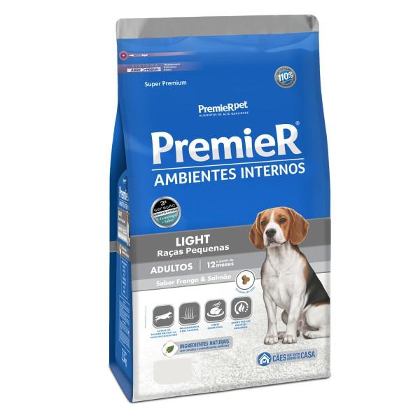 Ração Premier Ambientes Internos Light para Cães Adultos Sabor Frango e Salmão 2,5 kg