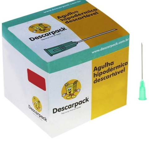 Agulha Descartável 25 x 8,0 (C/100) descarpack