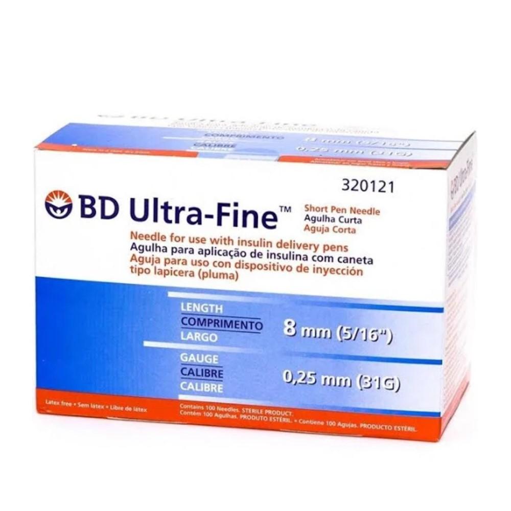 AGULHA ULTRA FINE 8MM X 0,25 MM (C/10) - BD