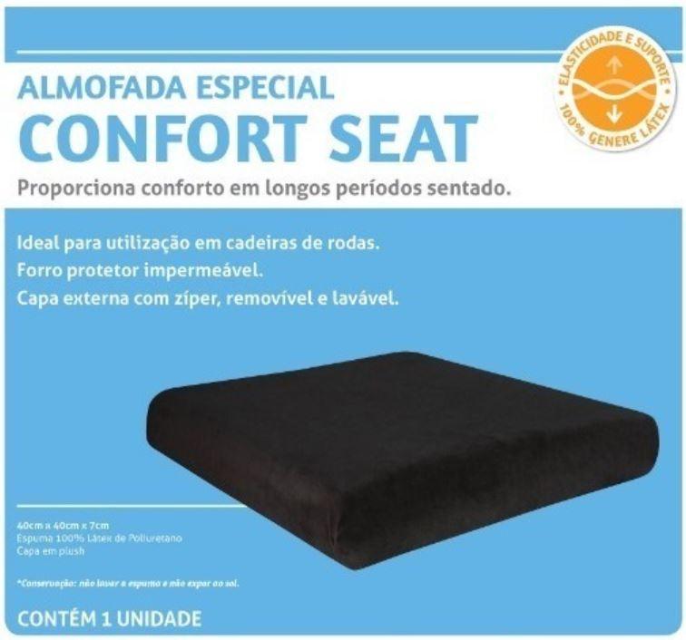 ALMOFADA CONFORT SEAT LATEX PRETA 40 X 40 X 7 CM - PERFETTO