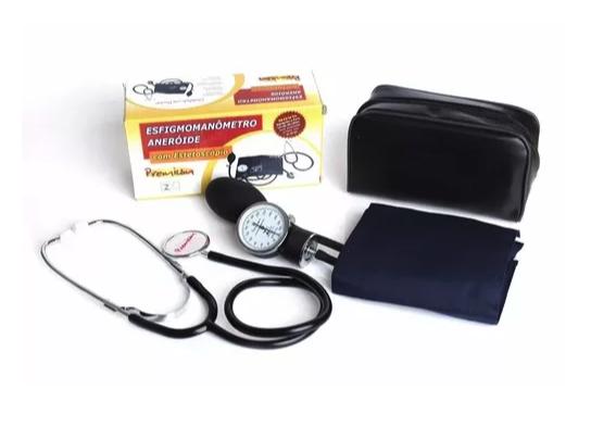 Aparelho de Pressão Adulto Azul Nylon Velcro c/Estetoscópio Preto  - Premium