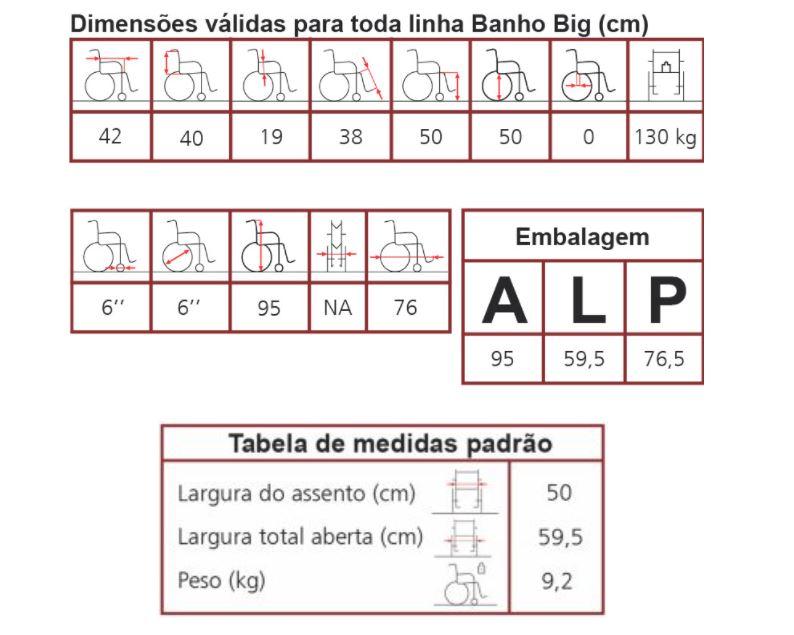 CADEIRA DE RODAS HIGIÊNICA BANHO BIG PARA OBESO - JAGUARIBE