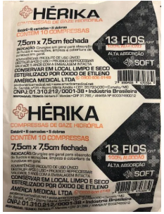 COMPRESSA DE GAZE HERIKA 7,5X7,5 C/10 ESTÉRIL 13F - AMERICA MEDICAL