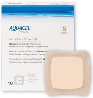 Curativo Aquacel Foam c/ Adesivo 10 x 10 cm und. 420680 - Convatec