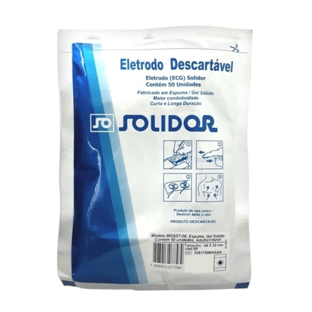 ELETRODO ECG ADULTO/INFANTIL (C/500) - SOLIDOR