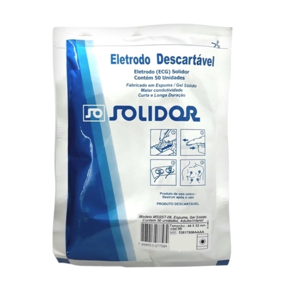 ELETRODO ECG ADULTO/INFANTIL (C/50) - SOLIDOR