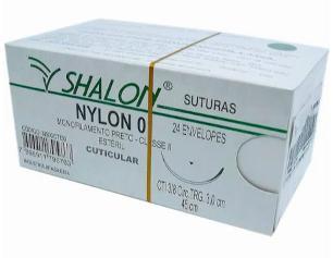 FIO NYLON 0 C/AG 3/8 3CM TRG 45CM (24 ENV) N500CTI30 SHALON
