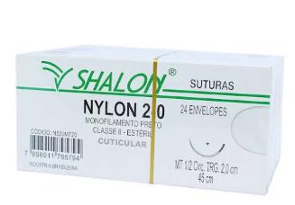 FIO NYLON 2-0 C/AG 3/8 3CM TRG 45CM (24 ENV) N520CTI30 SHALON