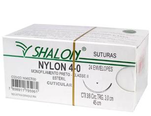 FIO NYLON 4-0 C/AG 3/8 3CM TRG 45CM (24 ENV) N540CTI30 SHALON