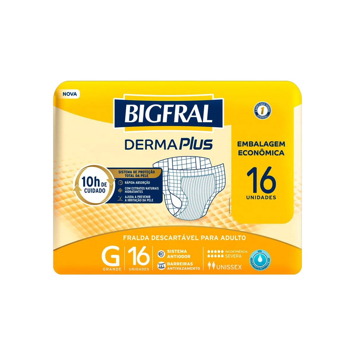 FRALDA GERIÁTRICA BIGFRAL DERMA PLUS ECONÔMICA G (C/16) - BIGFRAL