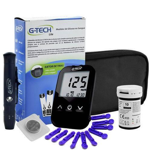 Kit Medidor de Glicose G-Tech Free Lite c/ CX de 100 Tiras - Completo
