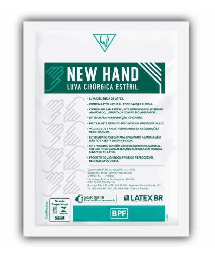 LUVA CIRÚRGICA ESTÉRIL LÁTEX 8,5 (CX C/50 PARES) - NEW HAND