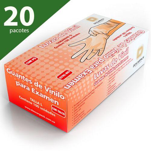 LUVA DE PROCEDIMENTO DE VINIL G COM PÓ (KIT COM 20 CXS.) - DESCARPACK